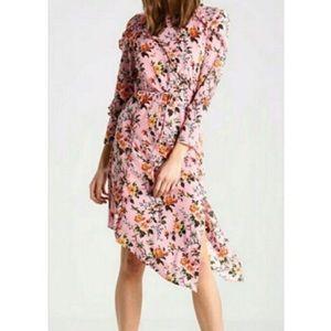 Topshop pink floral asymmetrical dress